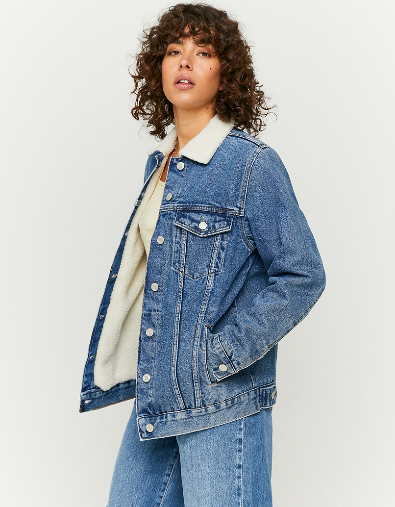 Denim Jacket with Faux Shearling Details