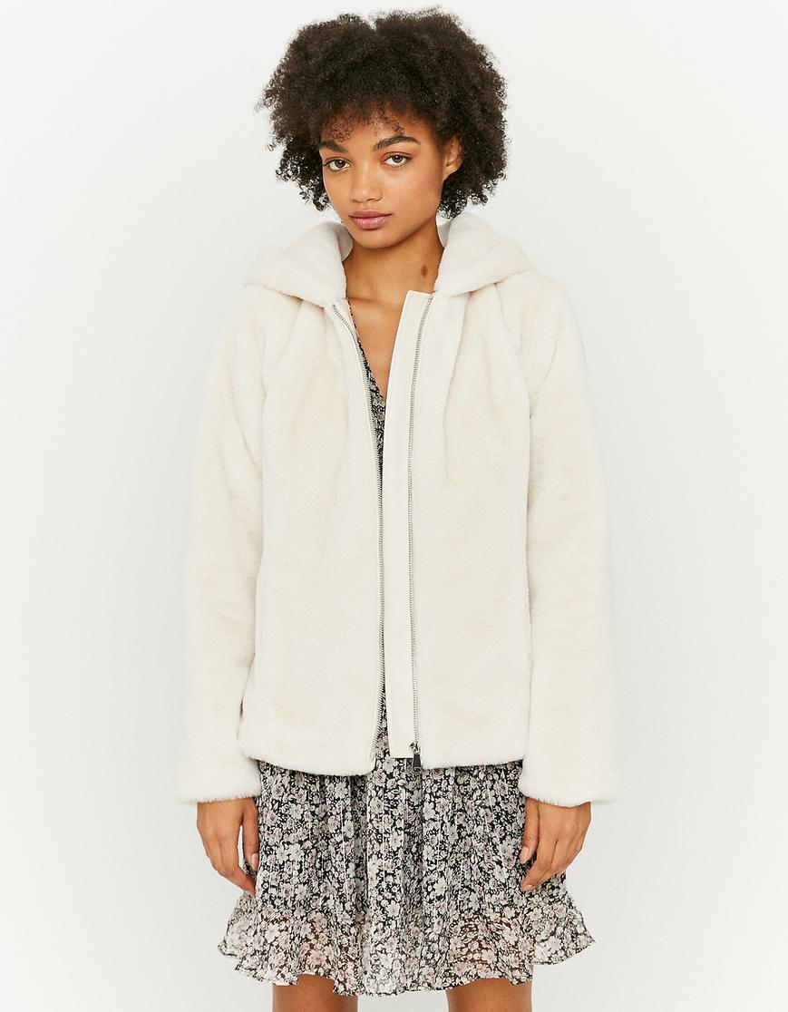 Beige Hooded Faux Fur Jacket