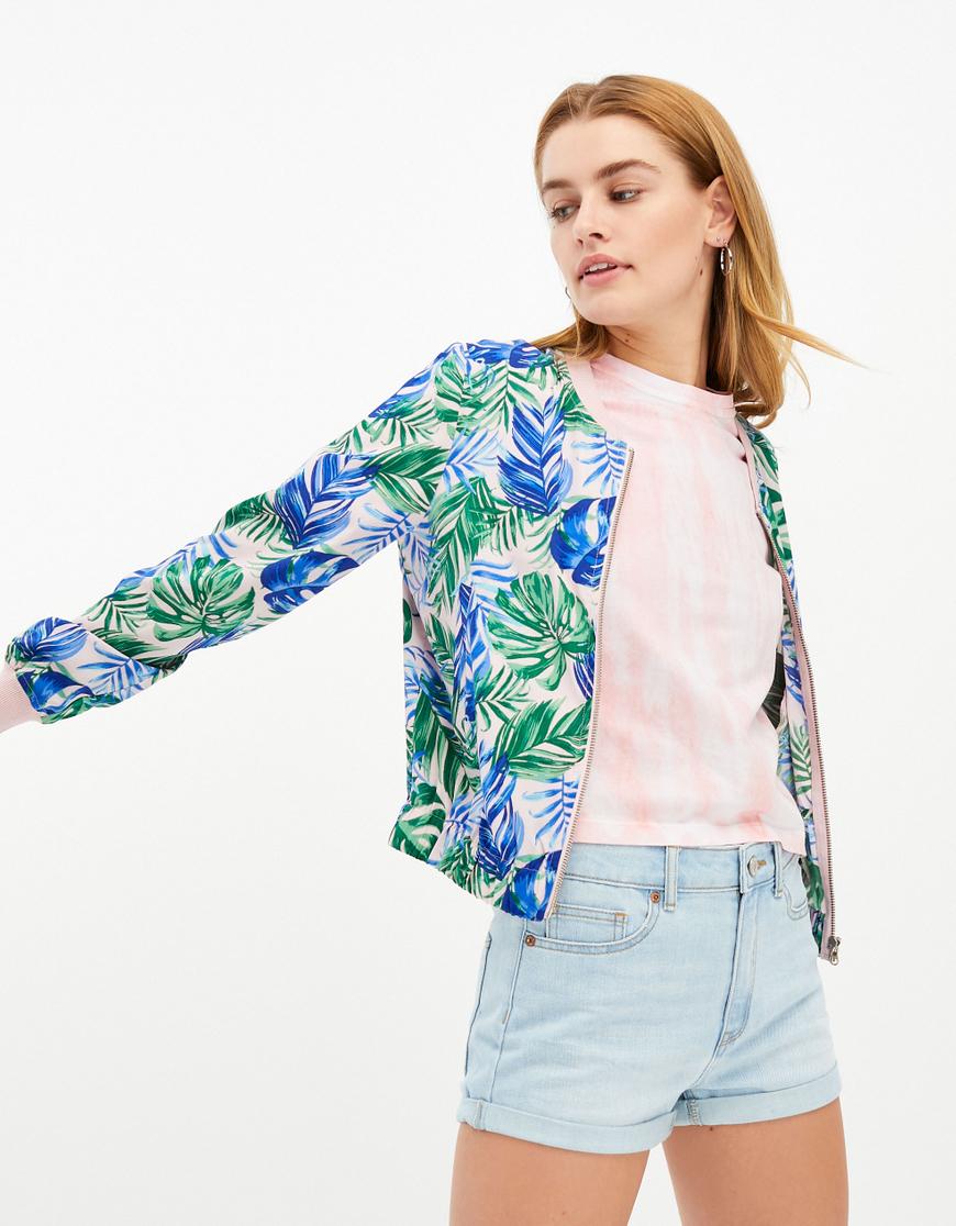 Pink Printed Bomber Jacket