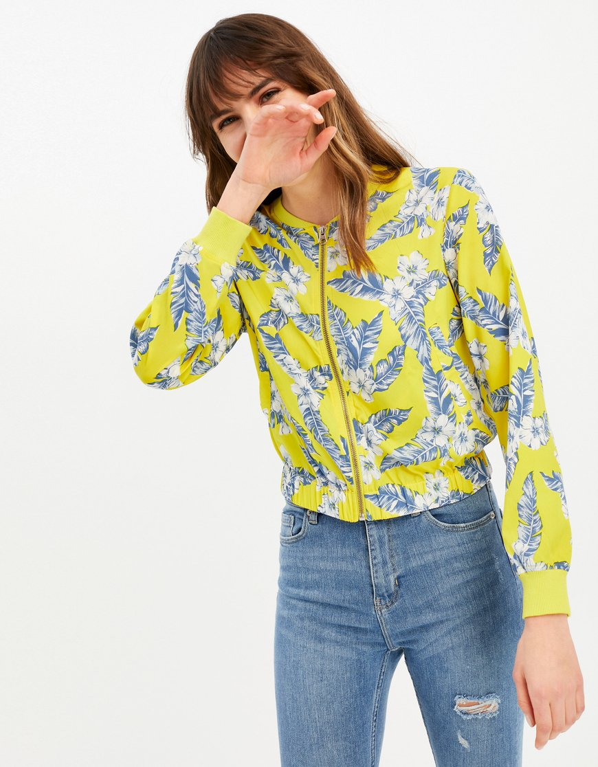 Yellow Floral Bomber Jacket