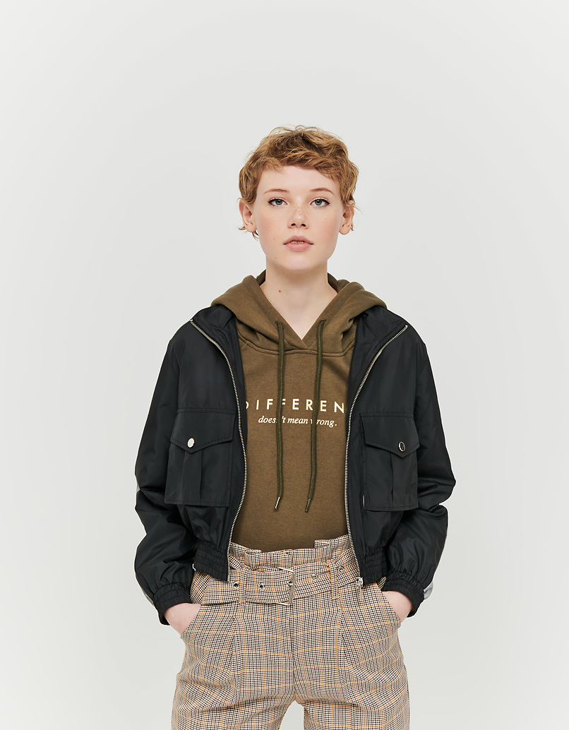 Cropped Windbreaker Jacket with Reflective Detail