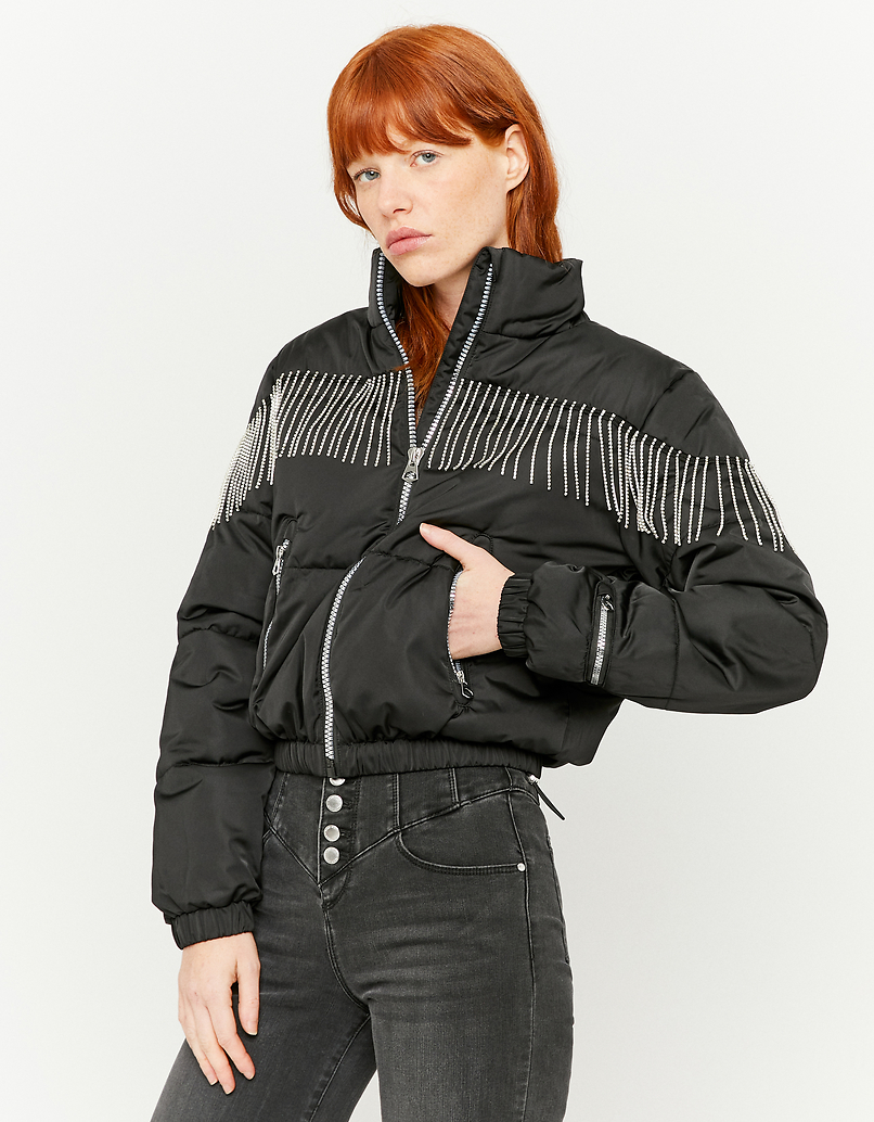 Puffer Jacket with Rhinestones