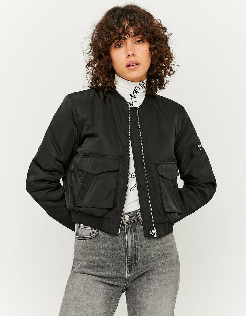 Black Bomber Jacket with Zip Detail
