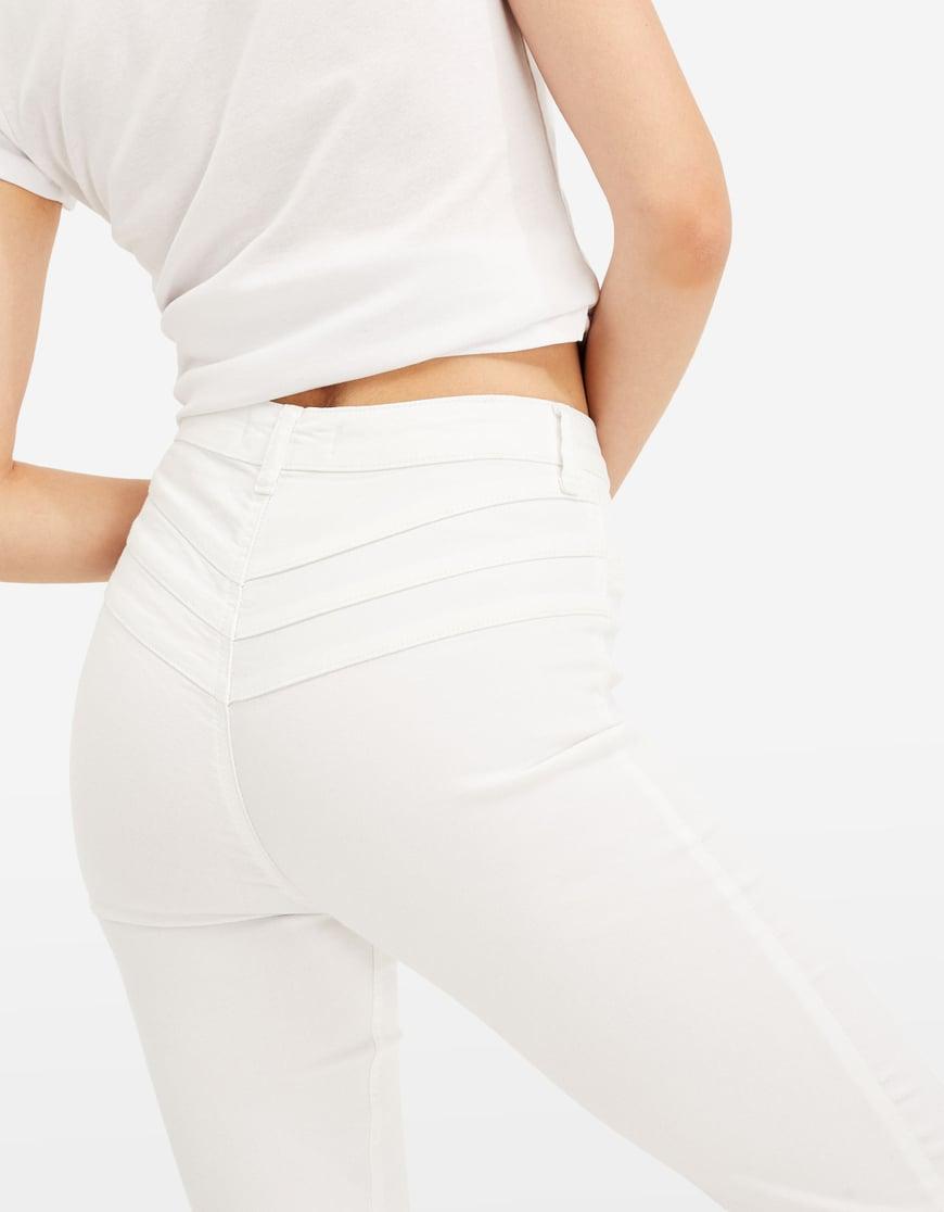 High Waist Skinny Hose mit Knopfleiste vorne