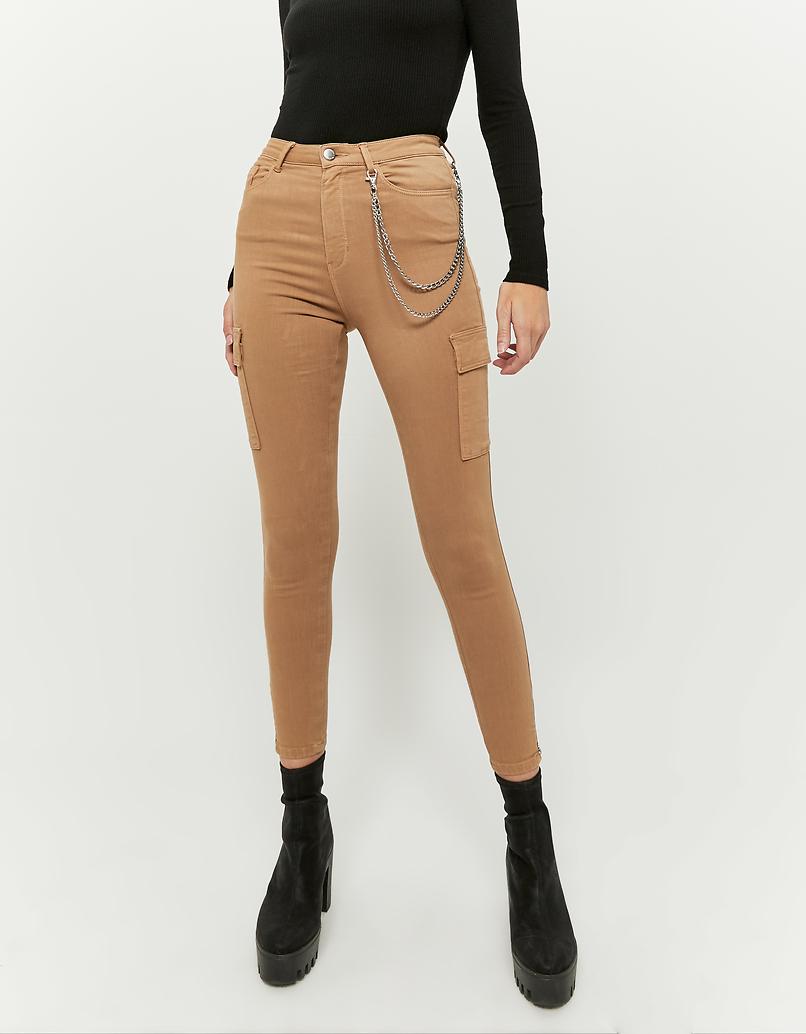 Pantalon Cargo Skinny Beige avec Détail Chaîne
