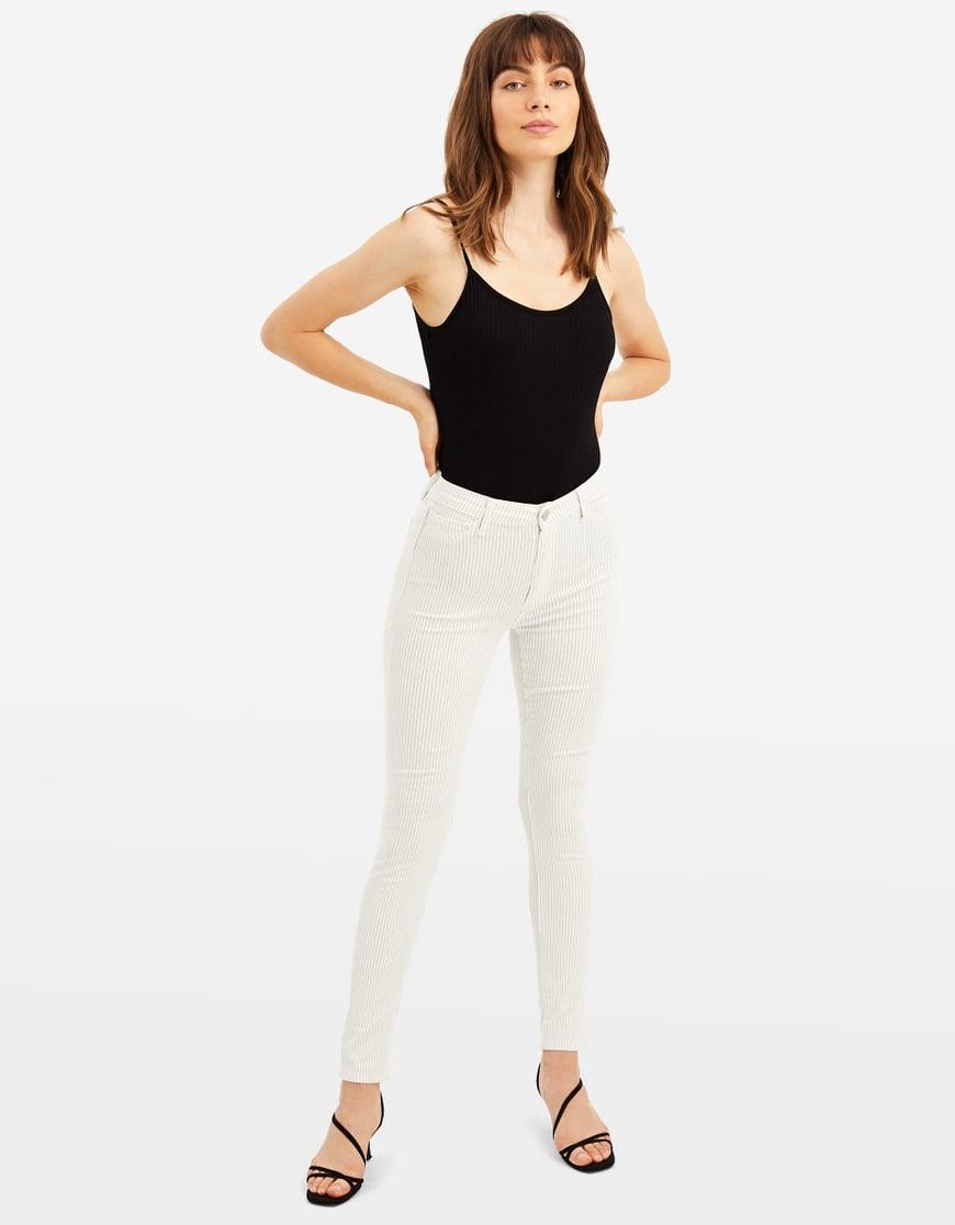 High Waist Pinstripe Skinny Trousers