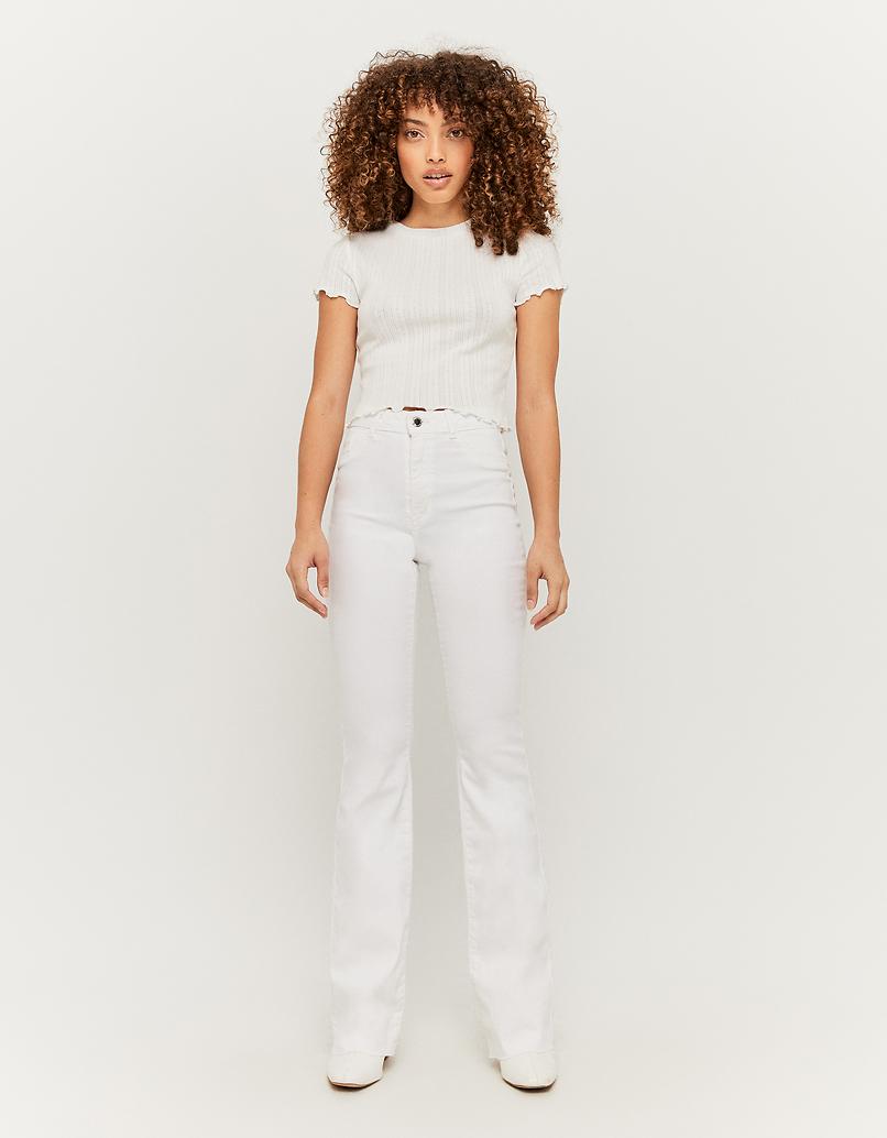Pantalon Skinny Évasé Taille Haute
