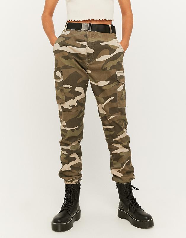 Pantalon Cargo Camouflage avec Ceinture