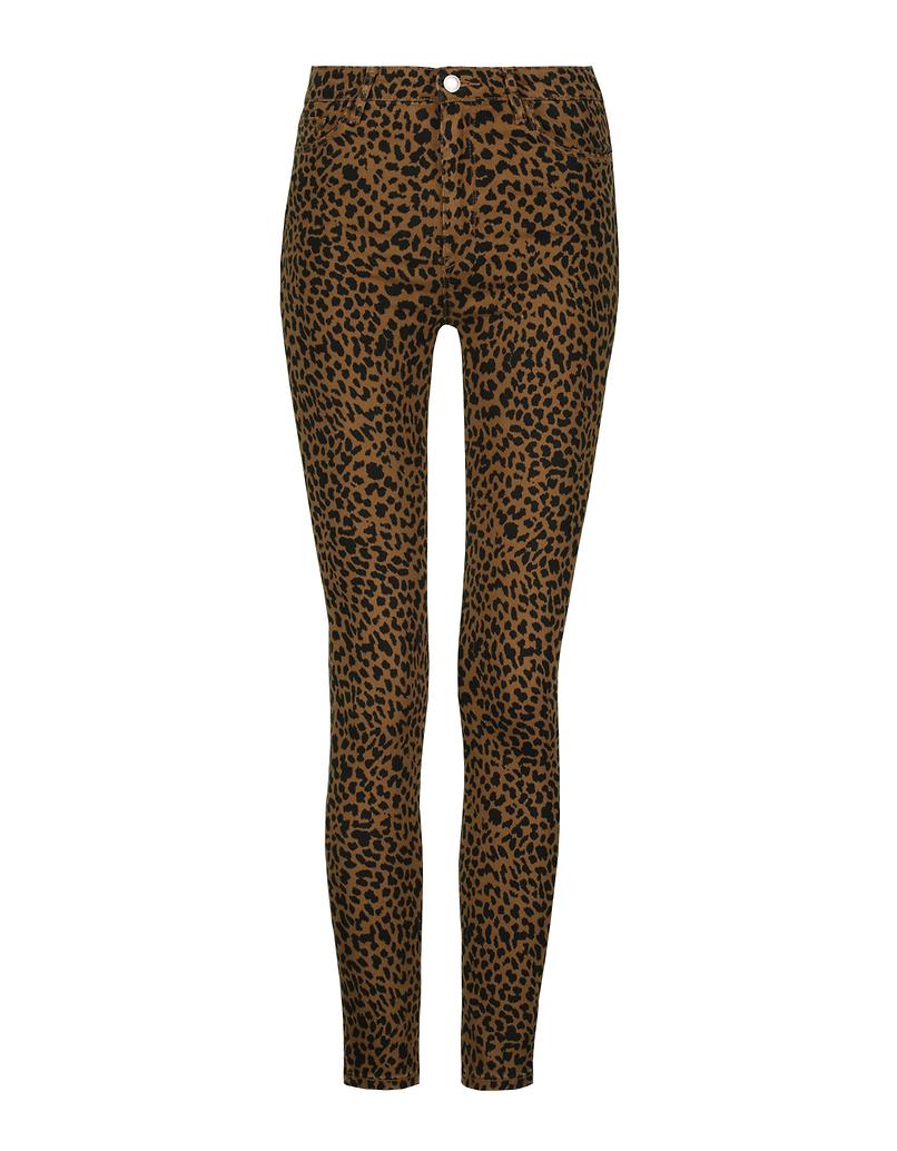 Pantaloni Skinny Leopardati a Vita Alta
