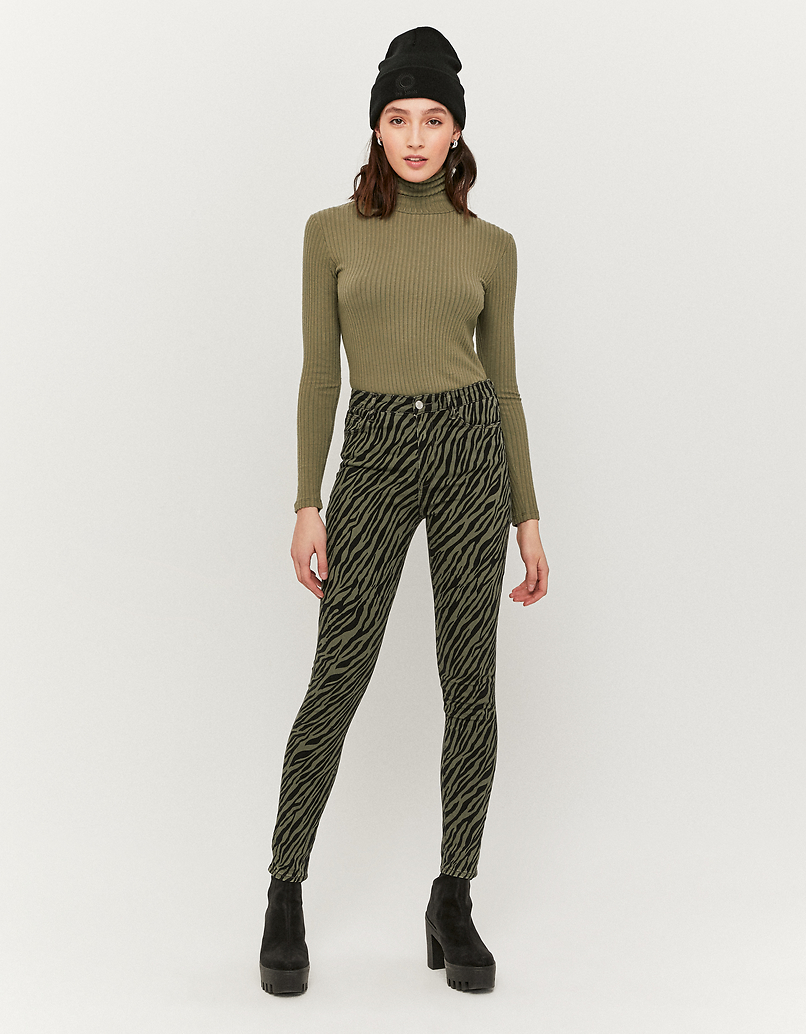 Pantalon Skinny Taille Haute Imprimé Zèbre