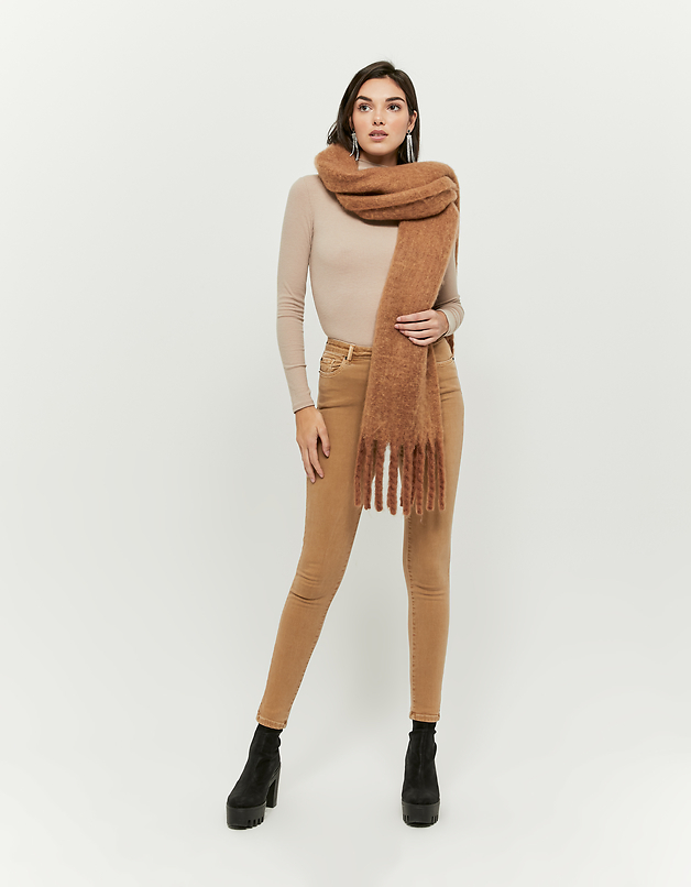 Karamelfarbige High Waist Skinny Hose