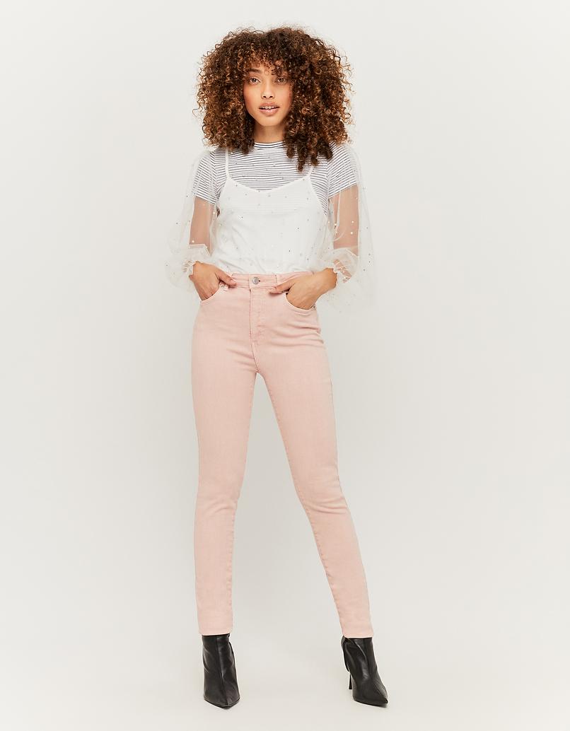 Pantalon Skinny Taille Haute Rose Clair
