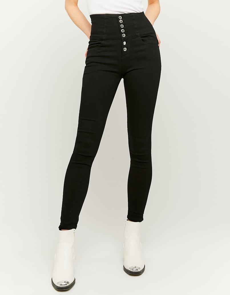 Pantalon Taille Très Haute à Boutons