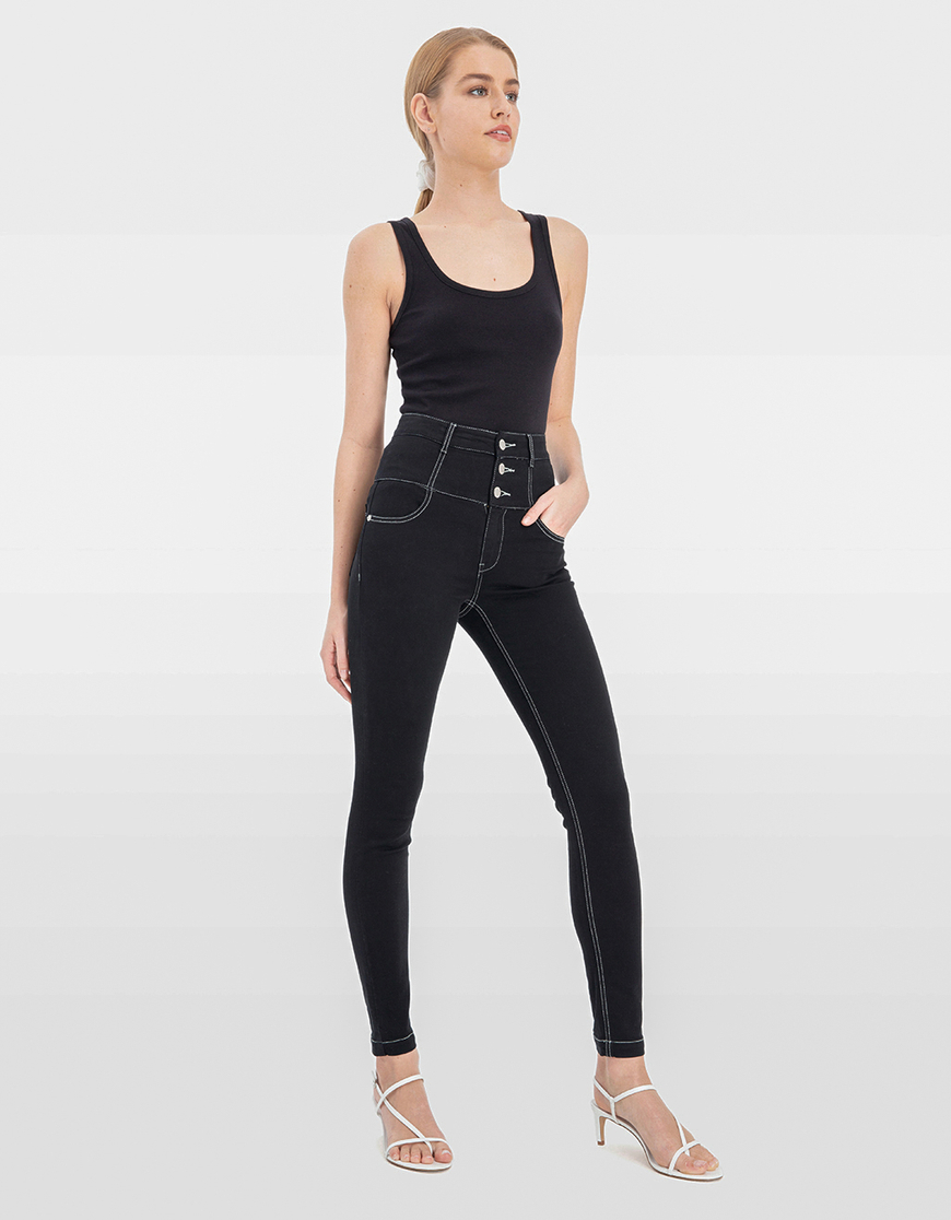 Pantaloni Skinny a Vita Molto Alta