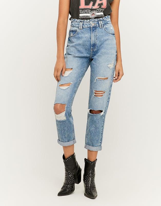 High Waist Mom Jeans with Ruffle Detail on the Waist