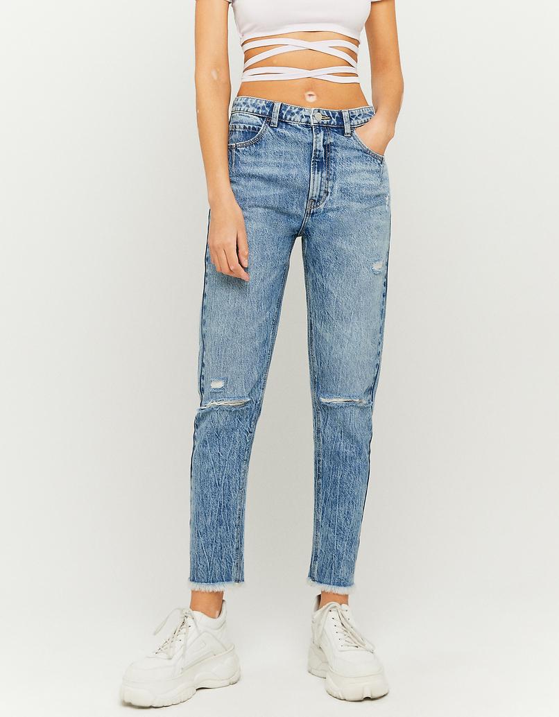Jeansy z wysokim stanem z dziurami - Mom