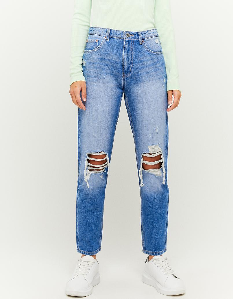 Jeansy z wysokim stanem - Mom