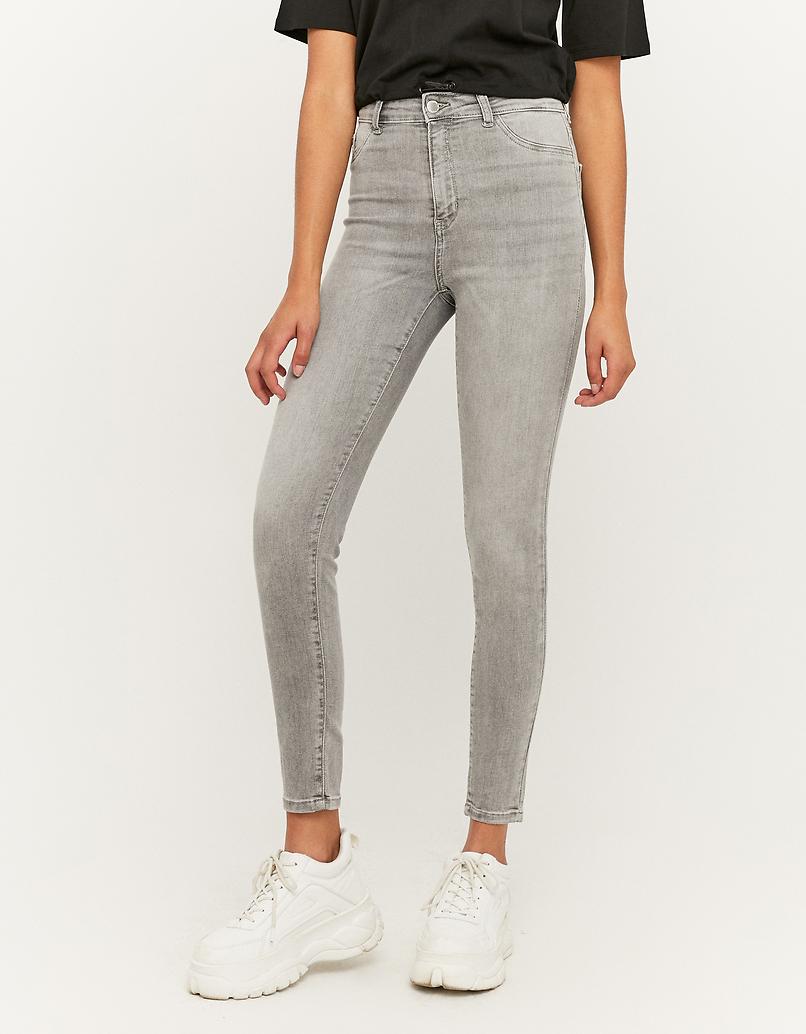 Jeansy rurki z wysokim stanem - Skinny