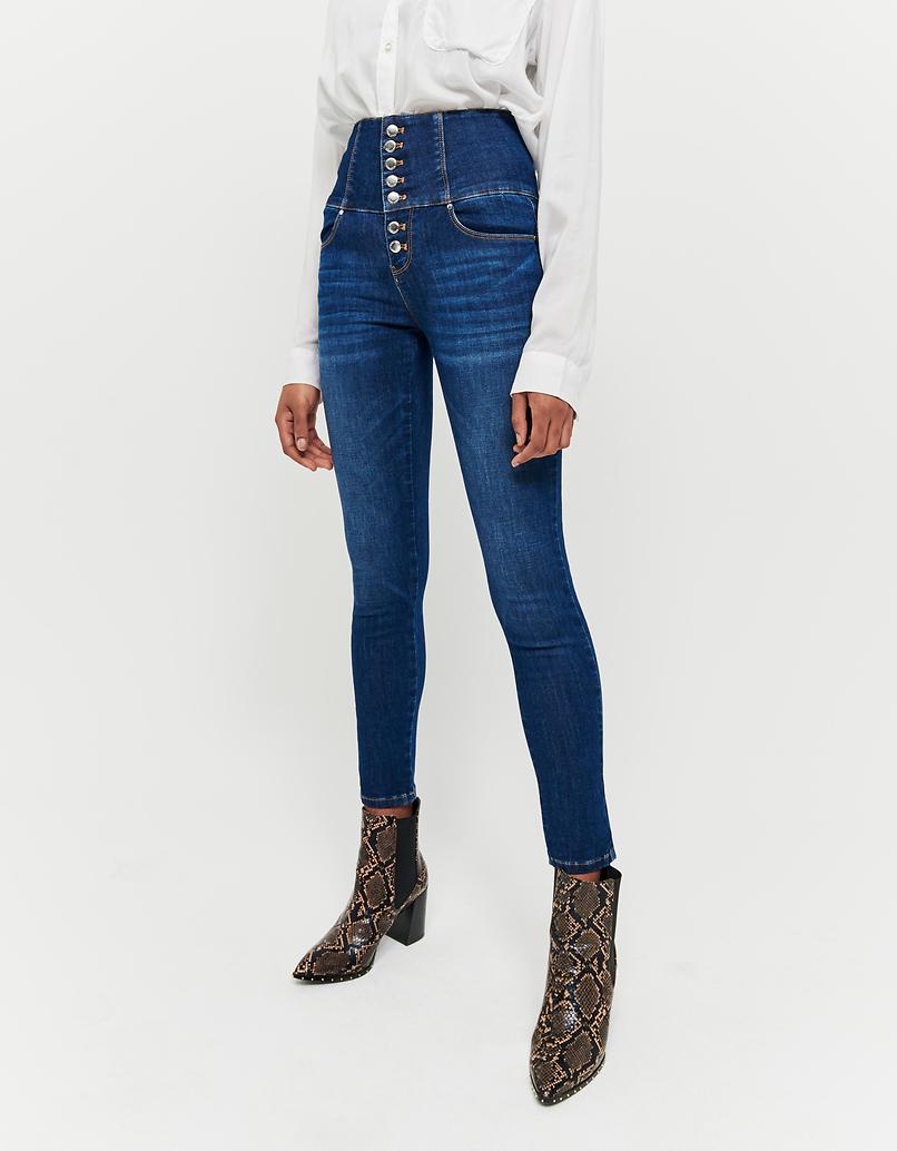 Jeans Skinny a Vita Alta con Bottoni