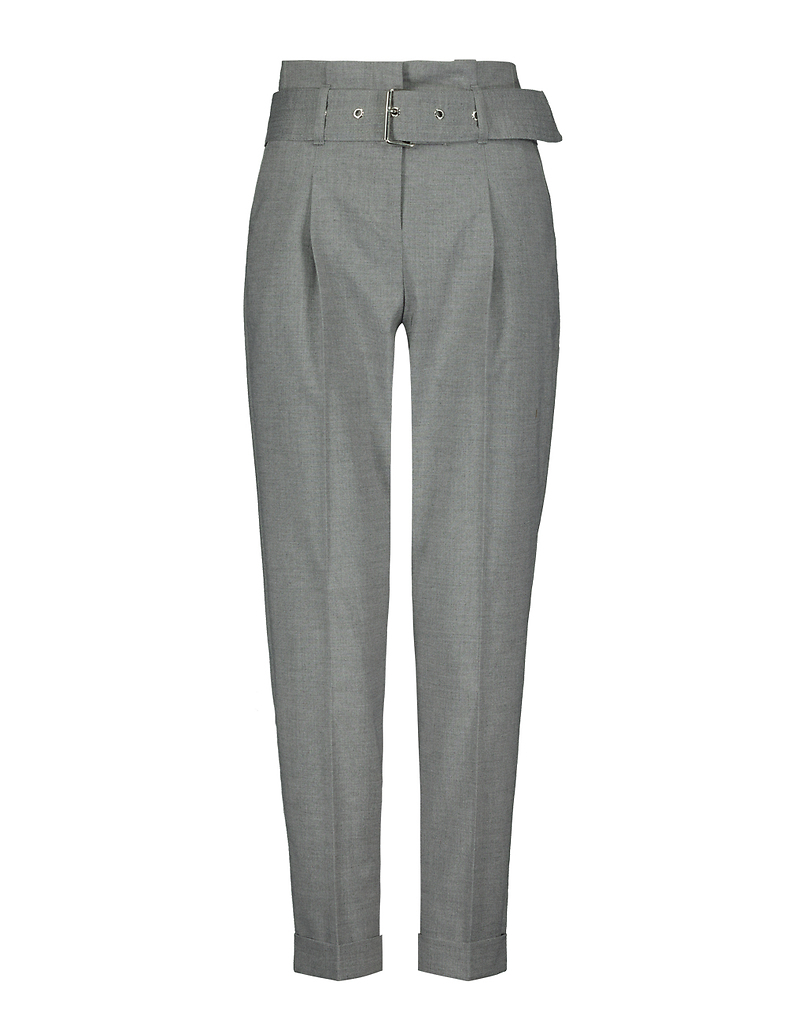 Pantalon Gris Taille Froncée & Ceinture