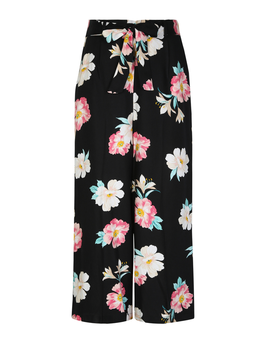 Schwarze Hose mit Blumenmuster und Bindegürtel