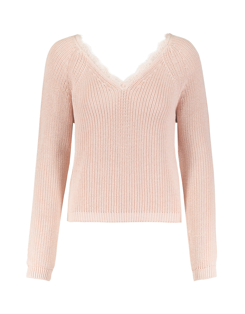 Pink V-Neck Jumper with Lace