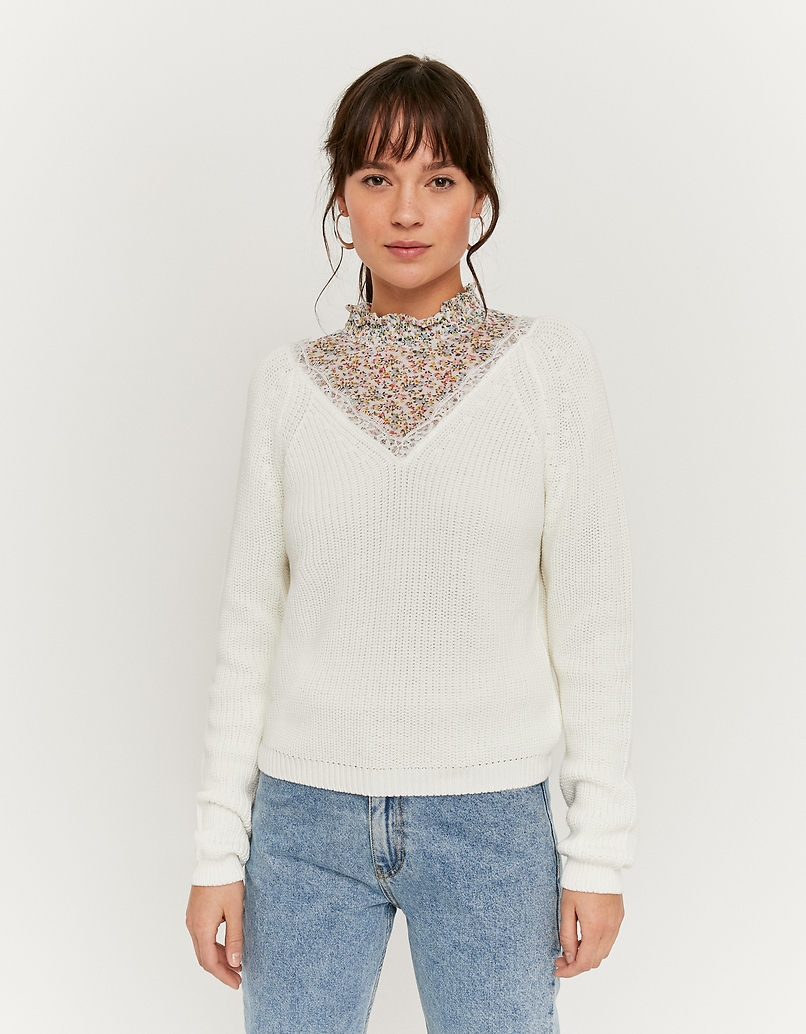 White V-Neck Jumper with Lace