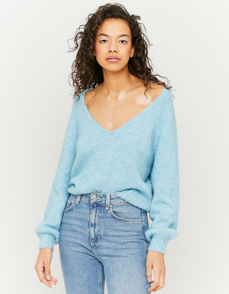 Niebieski sweter z dekoltem V
