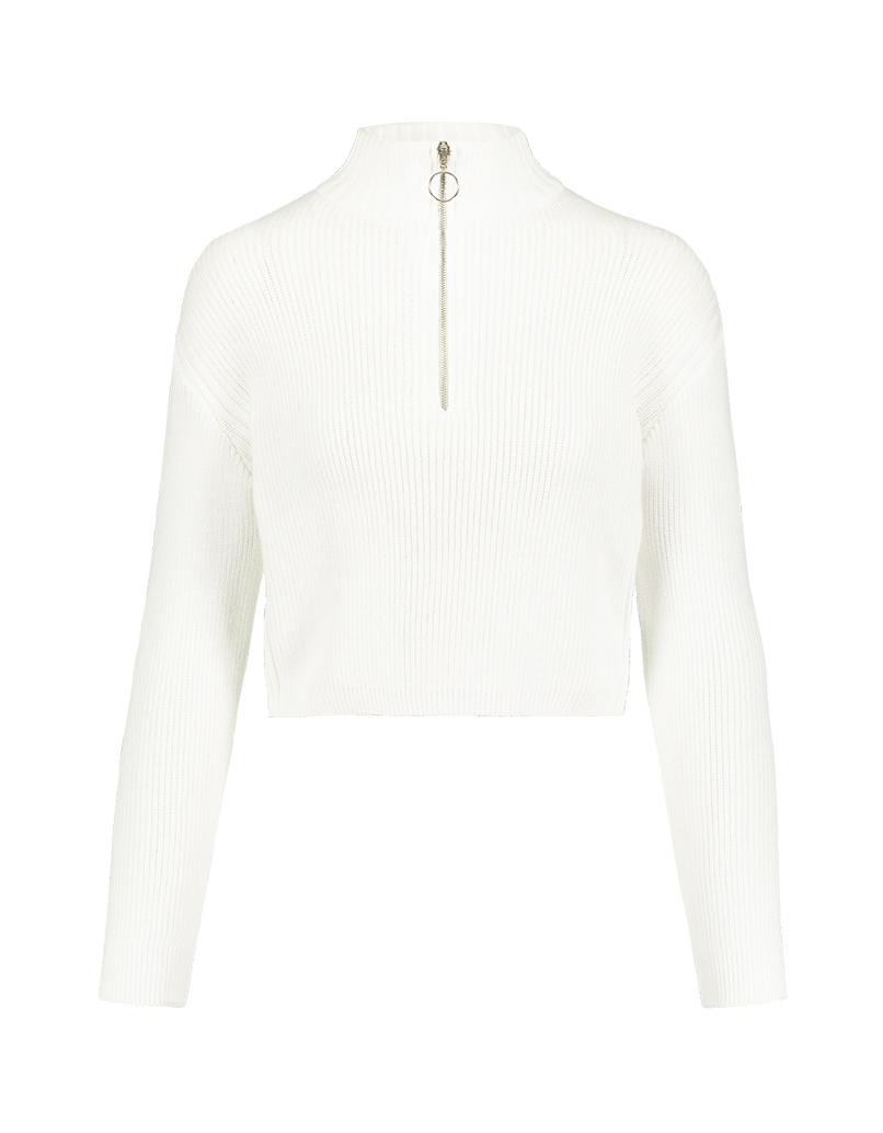 Maglione Bianco Corto con Zip
