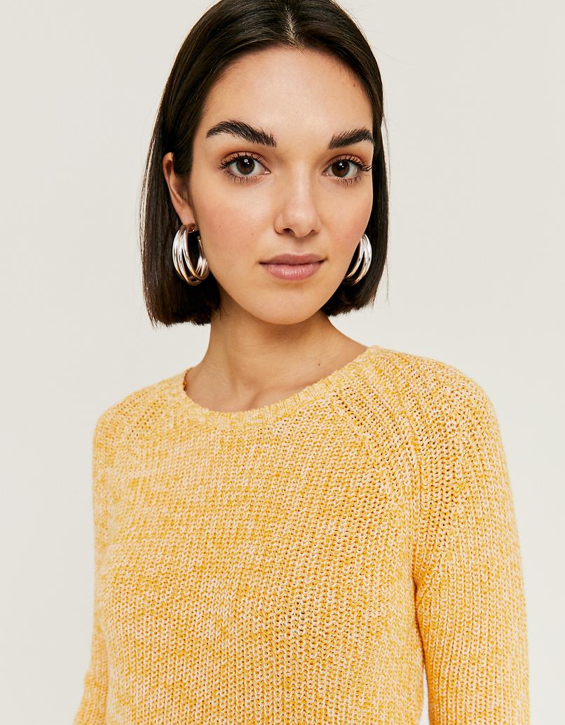 Gelber Pullover mit Kordelzug