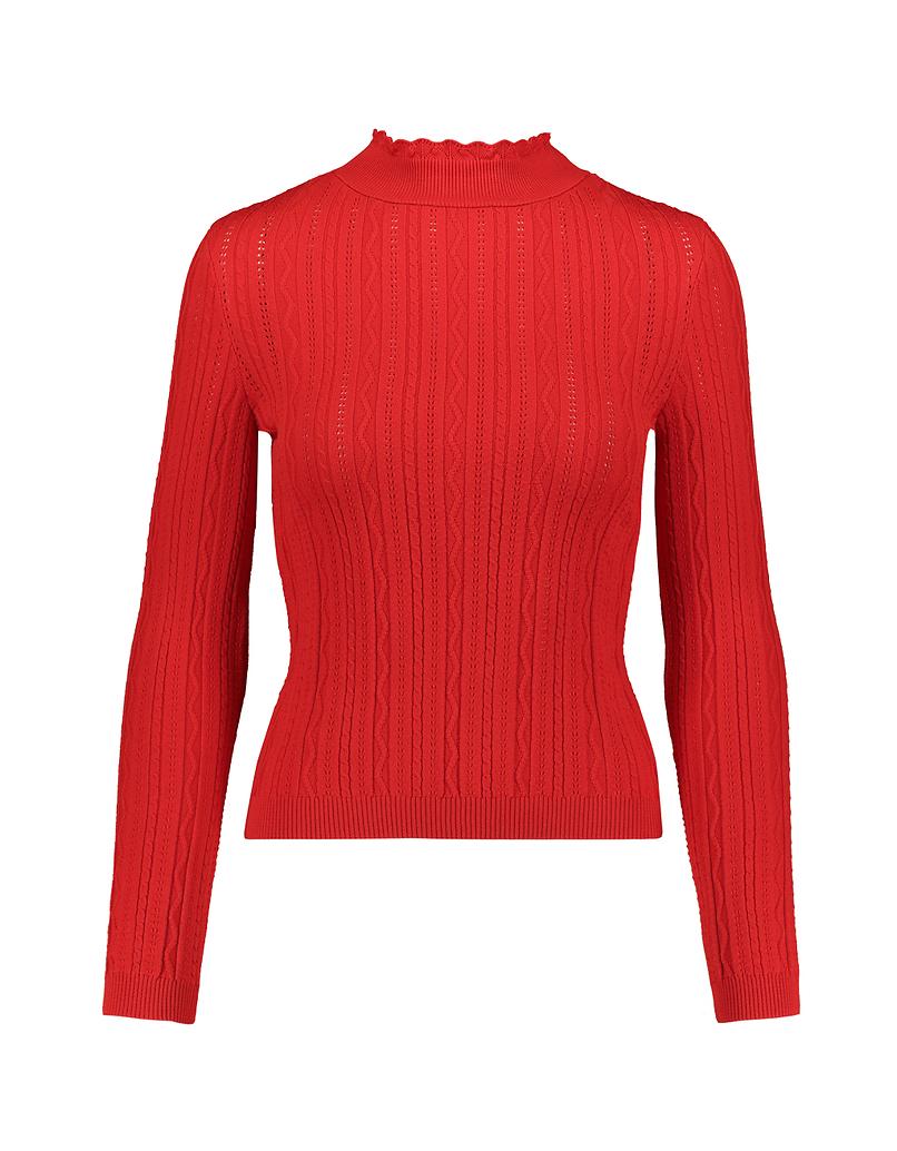 Orangefarbener Pullover mit gekräuselter Saum