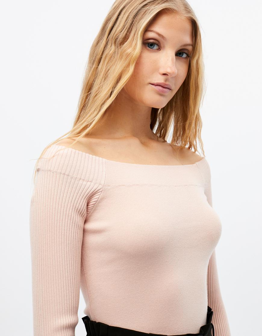 Pink Bardot Jumper