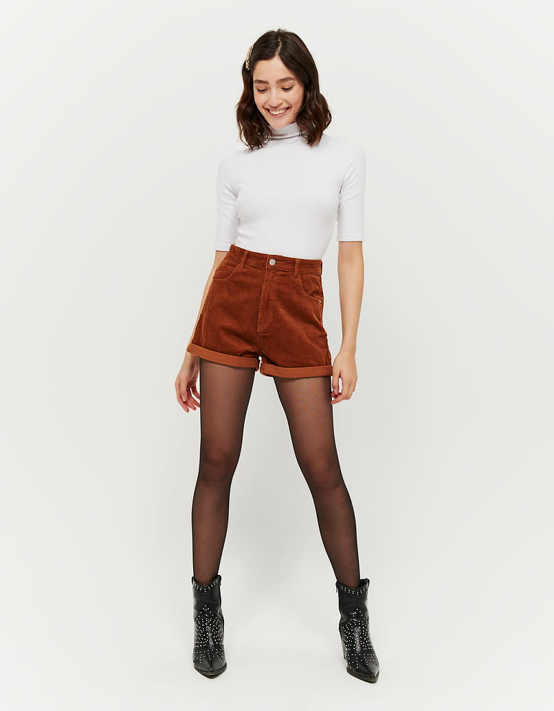 Dunkelbeige Mom Shorts aus Cord