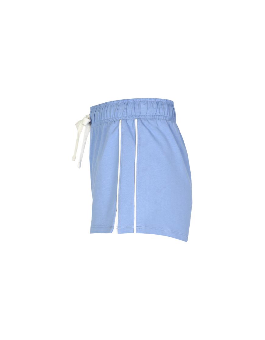 Blaue Shorts mit seitlichen Streifen