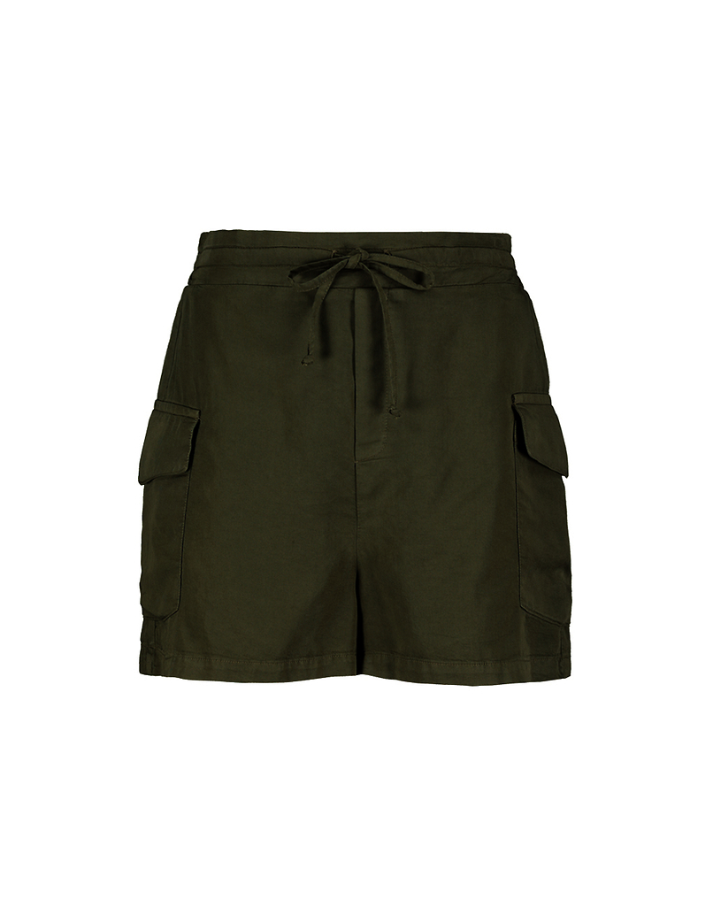 Khaki Cargo Shorts with Drawstring