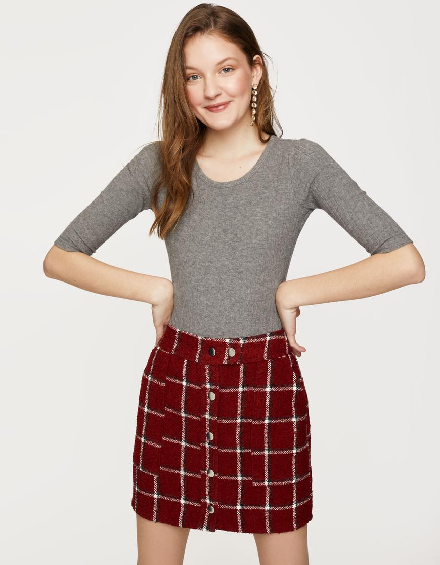 Burgundy Tweed Skirt