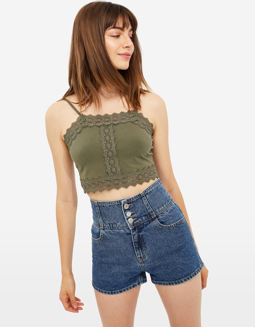 Khaki Lace Crop Top