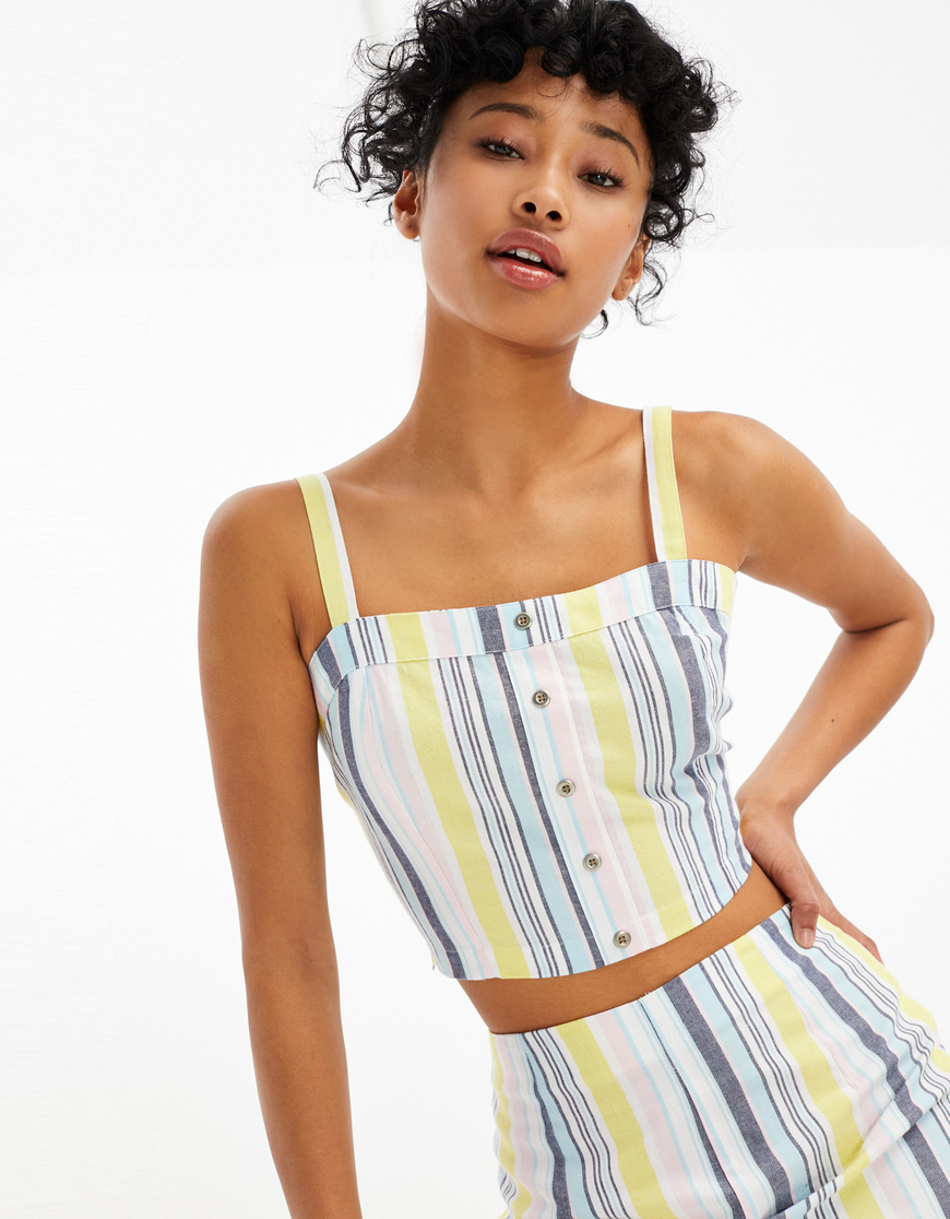 Bunt gestreiftes Crop Top