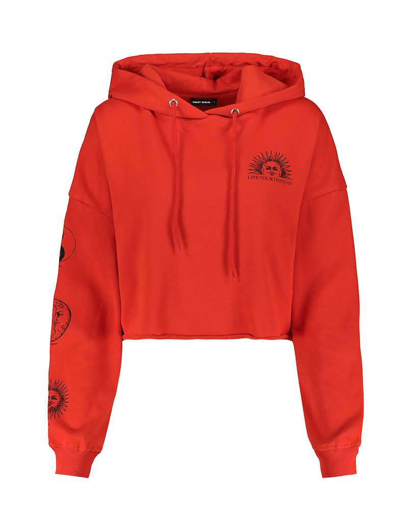 Red Astro Print Hoodie
