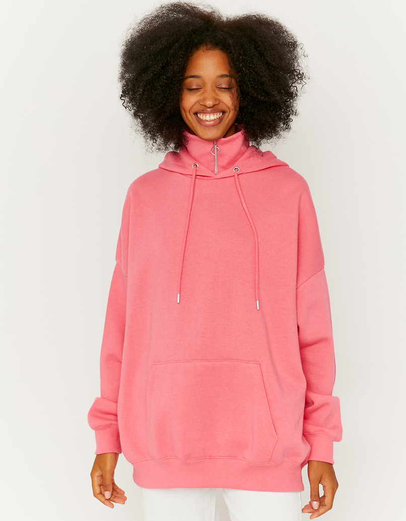 Pink Loose Hoodie with High Neck