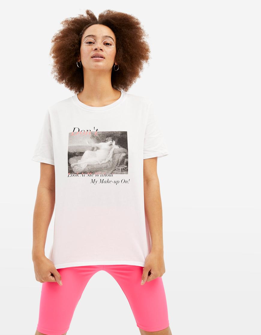 T-shirt Bianca con Meme