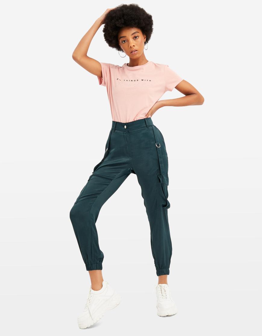 T-Shirt Rose avec Slogan