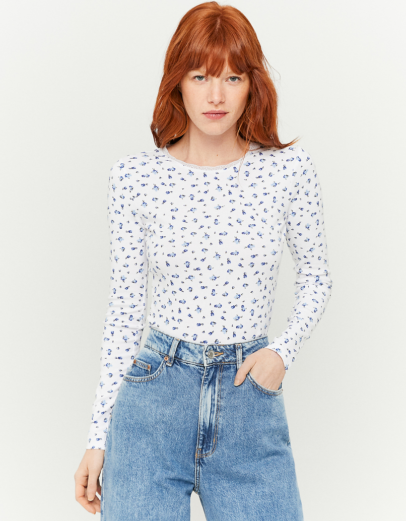 White Printed Long Sleeves Top
