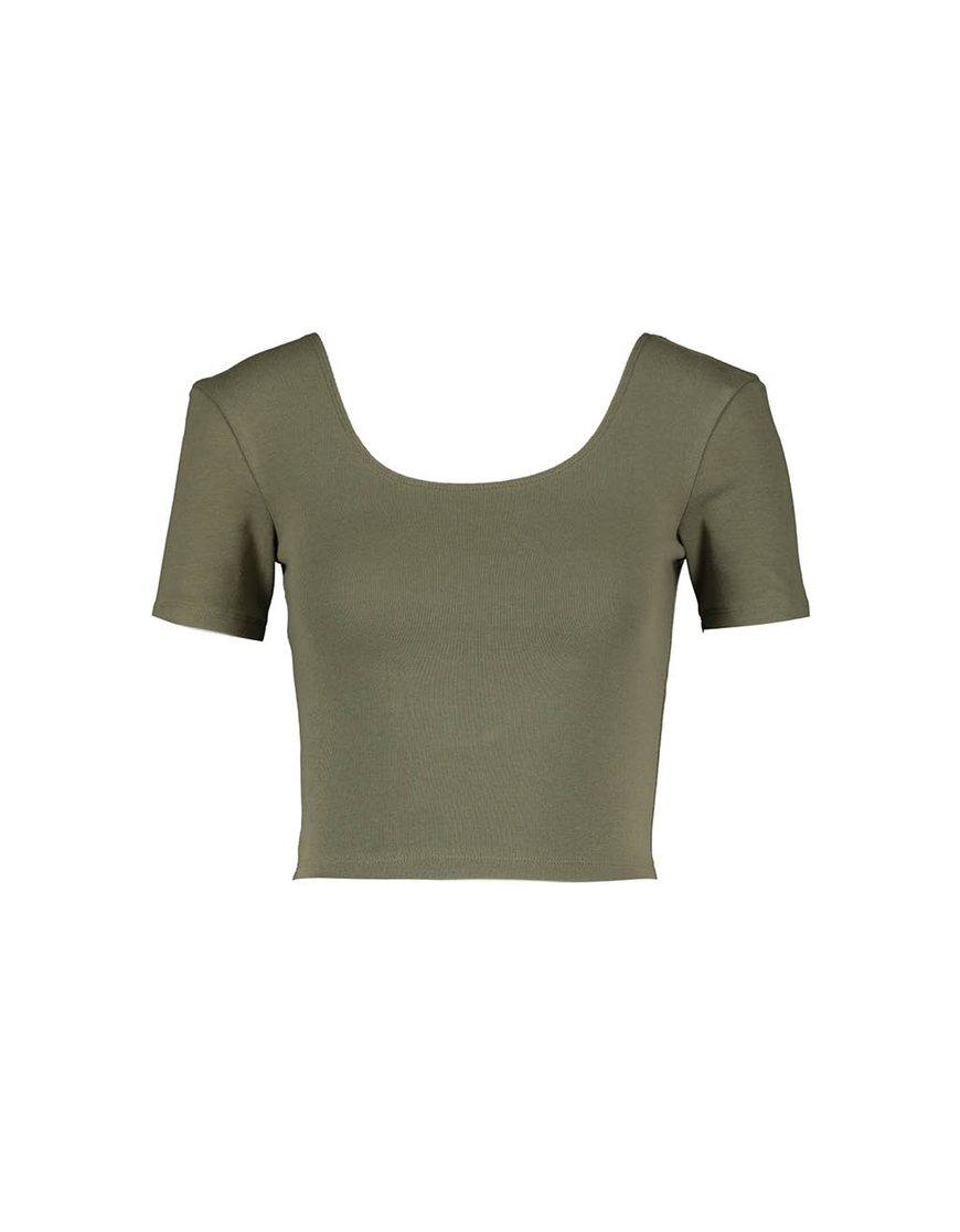 Khaki Crop Top