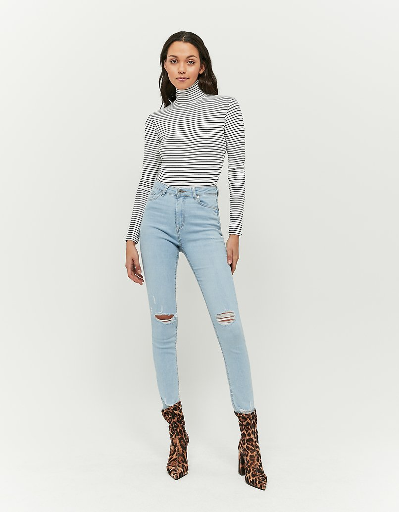Striped Mock Neck Crop Top