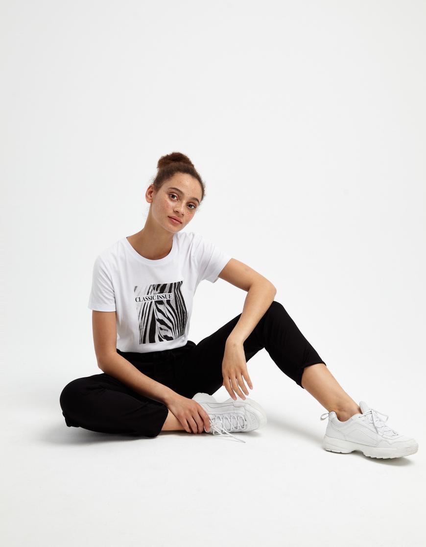 Weißes T-Shirt mit Zebra-Aufdruck