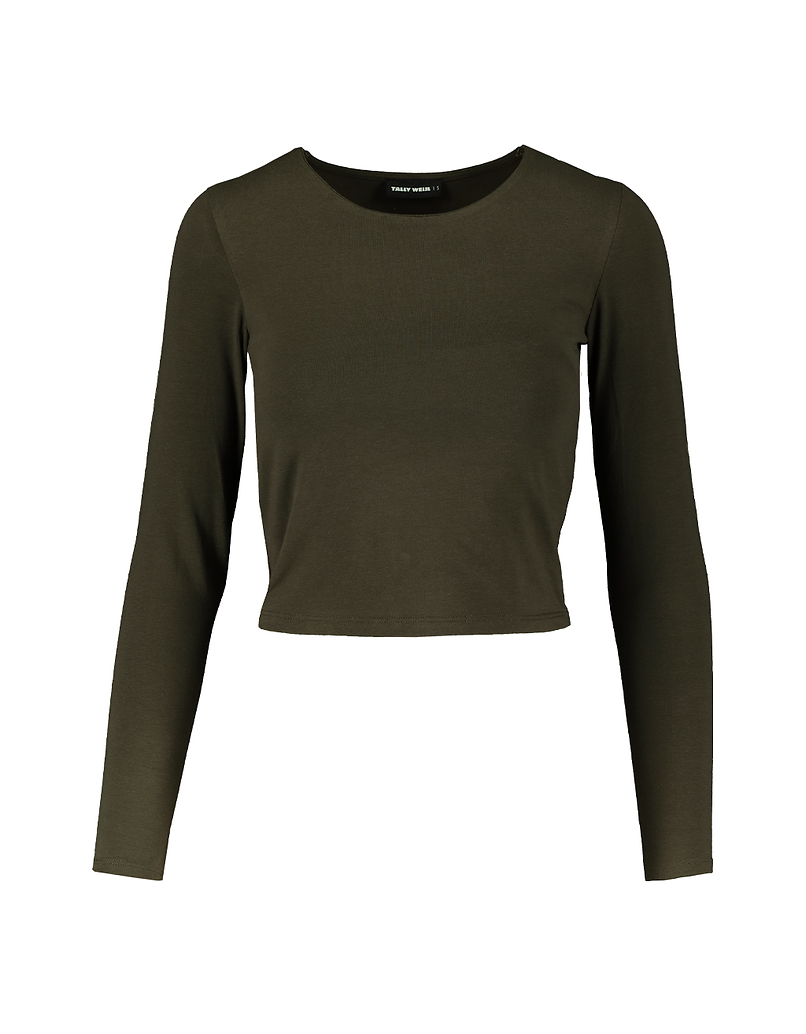 Khaki Long Sleeves Top