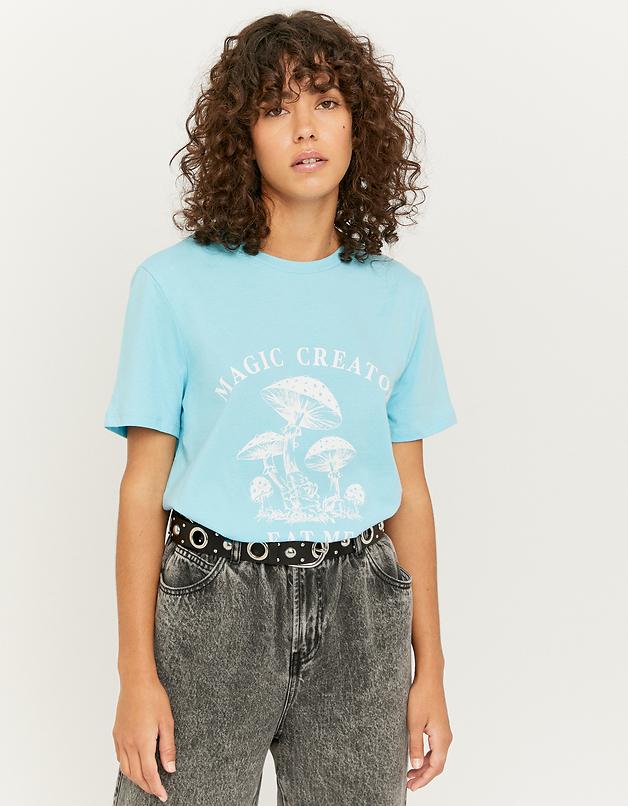 Blue Mushroom Print T-shirt