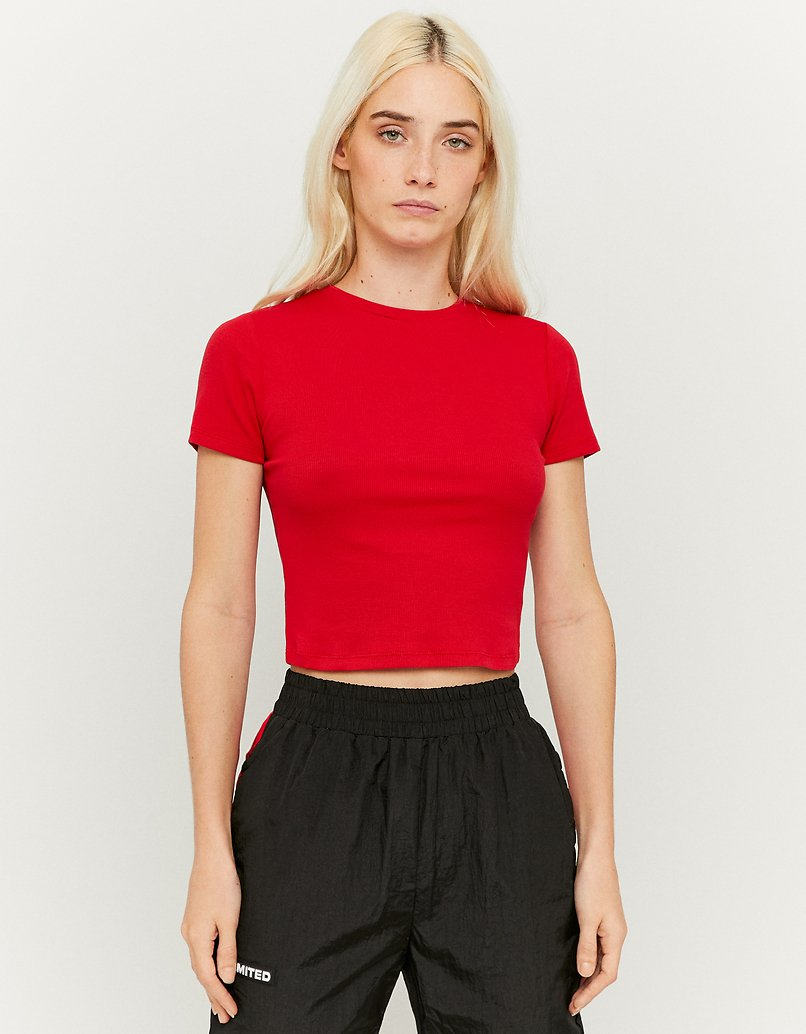 Red Short Sleeve Ribbed Top