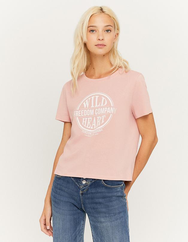 Maglietta Rosa Stampata